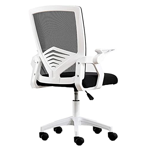 N&O Renovation House Executive Massagesessel Schreibtischstuhl mit mittlerer Rückenlehne hochklappbaren Armen und verstellbarem Drehbarem Drehwirbel Home Comfort Stühle Mesh-Computerstuhl für Damen