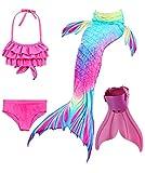 shepretty Traje de Baño de La Cola Sirena de Las Muchachas Bikini Set para Nadar Traje de Sirena,Dh02,120