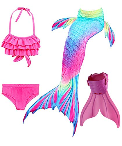Mermaid Tails with Mono Fin Sparkle Mermaid Swimsuit for Kids Girls Boys