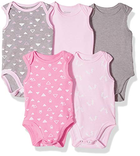 Hanes Ultimate Baby Flexy 5 Pack Sleeveless Bodysuits (Tanks), Pink/Grey Shades, 18-24 Months