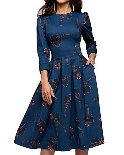 MINTLIMIT Damen 1950er Vintage Retro Cocktailkleid Rockabilly Kleider Petticoat Faltenrock Festliche Party Kleider Marine#2754D1 XL