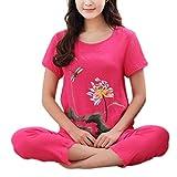 Gxdsya Traje De Pijama De Verano De Talla Grande para Mujer Camisa De Manga Corta Floral De Loto Chino Pijama Suelto Servicio A Domicilio