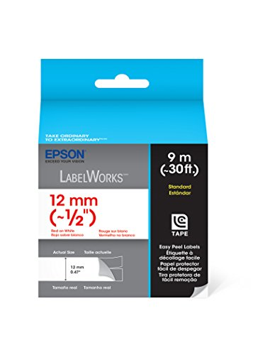 Epson LabelWorks Standard LC Tape Cartridge ~1/2-Inch Red on White (LC-4WRN9)