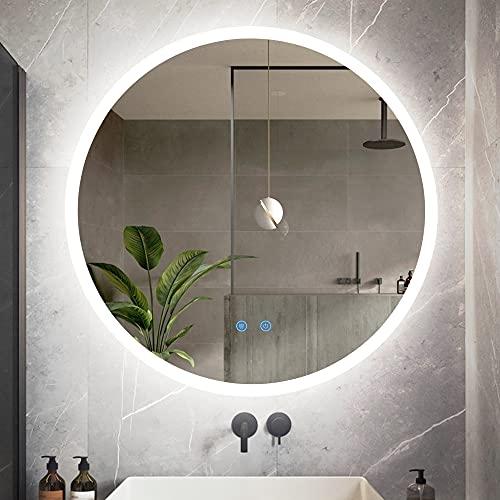 LVSOMT Espejo de baño iluminado de 60 cm con luces LED, antivaho, 3 colores de intensidad regulable, Smart Touch, IP54 impermeable, espejo circular sin marco para cuarto de baño