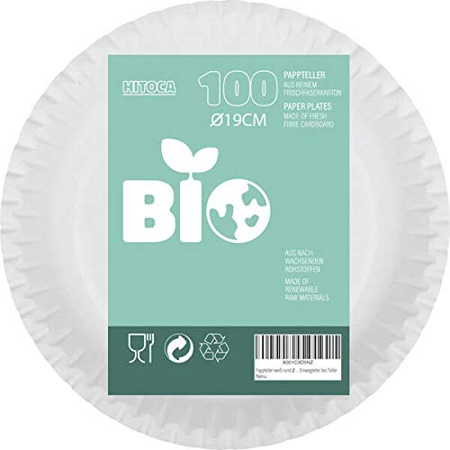 Platos de papel blancos redondos, 19 cm de diámetro, biodegradables, respetuosos con el medio ambiente, compostables, ecológicos, desechables