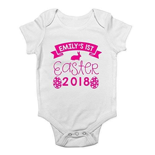 Promini Body pour bébé personnalisé avec n'importe quel nom My 1st Easter 2018 - Blanc - 6 mois