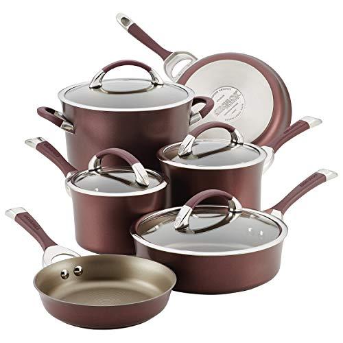 Circulon Symmetry Hard Anodized Aluminum Nonstick Cookware Set, 10-Piece Pot and Pan Set, Merlot