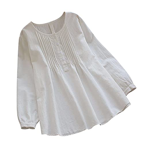 Women Cotton Linen Tshirt Tops, Summer Casual Trendy Solid Loose Fit Blouses Long Sleeve Plus Size Crewneck Tunic Tees