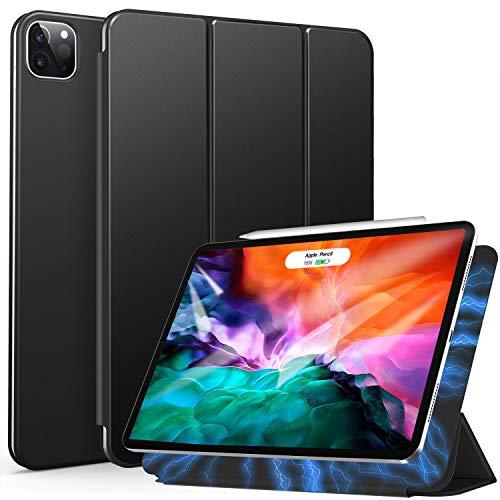 ZtotopCase Hülle für iPad Pro 12.9 2020(4.Generation), Magnetisches Ultra Schlank leichte und Klappständer Schutzhülle mit Automatischem Schlaf/Aufwach, Unterstützt Das Aufladen des iPad Stift,Schwarz