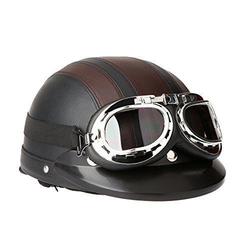 KKmoon Casco Abierto Protección para Motocicleta Scooter Bicicleta 54-60cm Ajustable con Visera UV Gafas Bufanda, marron