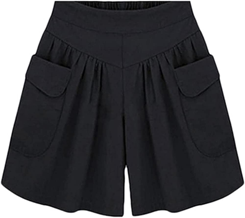 NP Summer Women Plus Size Solid Color Elastic Waist Casual Loose Shorts