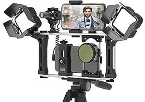 DREAMGRIP Evolution 2 MOJO Universal Modular Video Rig for All Smartphones, DSLR, Action Cameras - Complete Journalist Kit w/52-37-17mm Optics Adapter/Hood/2*Filters/Gun Microphone/2*LED Lights,etc.