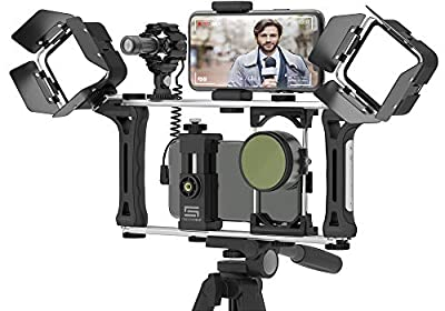 DREAMGRIP Evolution 2 MOJO Universal Modular Video Rig for All Smartphones, DSLR, Action Cameras - Complete Journalist Kit w/52-37-17mm Optics Adapter/Hood/2Filters/Gun Microphone/2LED Lights,etc from MXS Overseas Ltd.