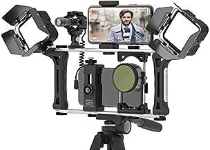 DREAMGRIP Evolution 2 MOJO Universal Modular Video Rig for All Smartphones, DSLR, Action Cameras - Complete Journalist Kit w/52-37-17mm Optics Adapter/Hood/2Filters/Gun Microphone/2LED Lights,etc