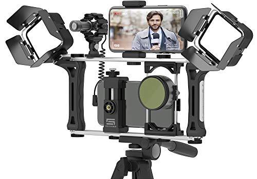 DREAMGRIP Evolution 2 MOJO Universal Modular Video Rig for All Smartphones, DSLR, Action Cameras - Complete Journalist Kit w 52-37-17mm Optics Adapter Hood 2Filters Gun Microphone 2LED Lights,etc
