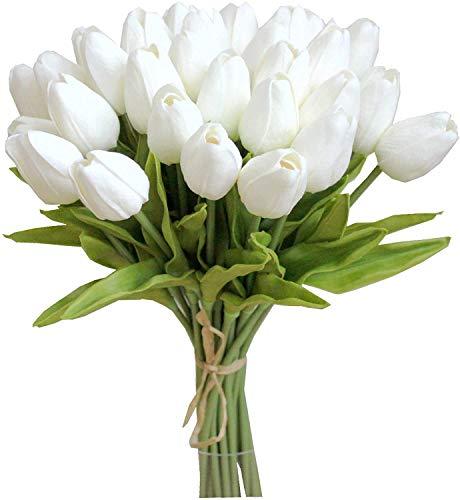 Tifuly 24 Piezas de Tulipanes Artificiales de látex, Ramos de Flores Falsos de Tulipanes realistas para el hogar, Bodas, Fiestas, decoración de oficinas, arreglos Florales (Blanco)
