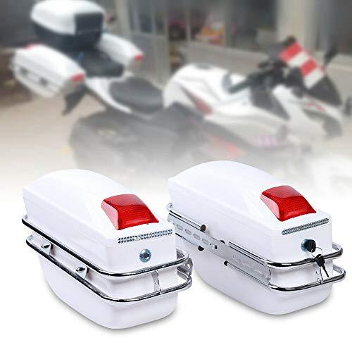 Paar Universal Weiß Motorrad Seitenkoffer Hartschalenkoffer Gepäck Satteltaschen