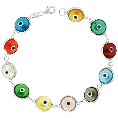 Sterling Silver Evil Eye Bracelet for women and Girls 10 mm Glass Eyes Clear Multi Color Clear 7 inch