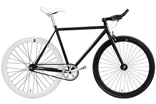 FabricBike - Original Collection, Hi-Ten Stahl Schwarz, Fahrrad Fixed Gear, Single Speed, Urban Commuter, 3 Farben und 3 Größen, 10 Kg (Matte Black & White, M-53cm)