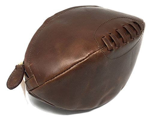 Echtes Leder Rugby Ball Shaped Toilettenartikel Washbag