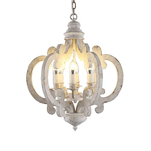 WEM Chandelier,Antique Metal Wooden Retro Ceiling Lights Fixtures in Distressed White 6Xe14 Candle Hanging Chandeliers D 20'X H 24'Chic Rustic Ceiling Lamp,White