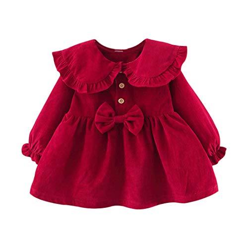 Vestido 6 24 Meses Pana para Bebé Vestidos para Niñas Princesa Infantil Falda Fiesta con Bowknot Solapa de Encaje Color Sólido Mangas Elásticas Lindo