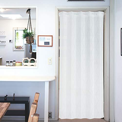 アコーディオン カーテン 間仕切り のれん 目隠し 遮熱 北欧調 カーブライン 100×200 cm丈 (ホワイト)