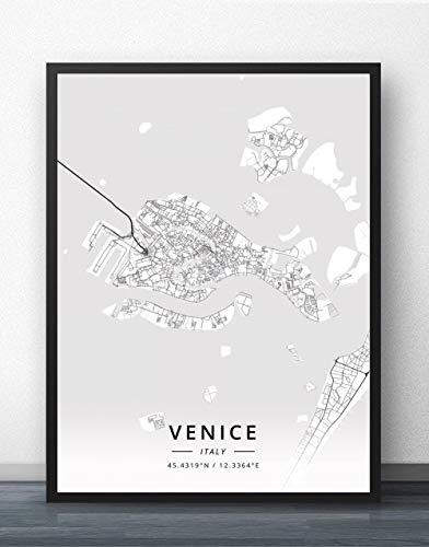 ZWXDMY Leinwand Bild,Italien Venedig Stadtplan Schwarze Und Weiße Minimalistische Text Abstrakt Leinwand Poster Malerei Wandbild Cafe Office Home Einrichtung, 50 × 70 cm