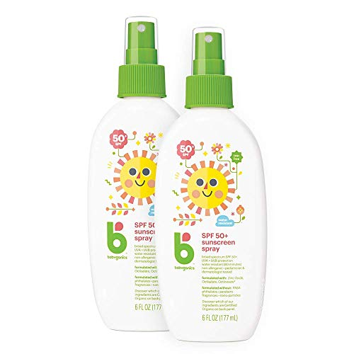 Babyganics Sunscreen Spray 50 SPF, 6oz, 2 Pack, Packaging May Vary