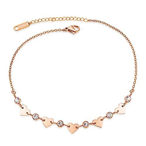 Damen Fußkettchen Rose Gold Edelstahl Fußkette mit Rose Anhänger Sommer Strand FußSchmuck für Frauen Mädchen (herz)
