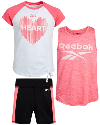 Reebok Girls 3-Piece Workout Active Short Set - Tank Top, T-Shirt and Bike Shorts , Size 12, Black/Neon Coral/White