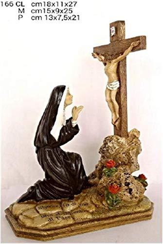 CREART S. Rita e Il Crocifisso - Statua in Resina e Polvere di Marmo - 18x11x27 cm.