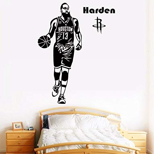 Pegatinas de pared, póster de acción clásico de jugador de baloncesto, pegatinas decorativas de pared, Mural de decoración del hogar, 55x42cm