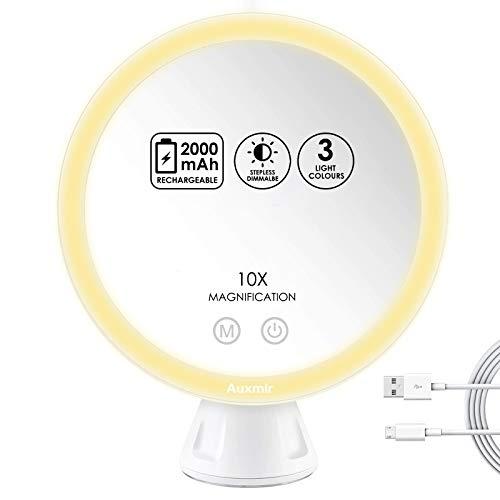 Auxmir Kosmetikspiegel LED Beleuchtet mit 10X Vergrößerung und Saugnapf, 2000mAh Wiederaufladbarer Schminkspiegel für Zuhause und Unterwegs, 3 Lichtfarben Stufenlos Dimmbare Helligkeit, Weiß