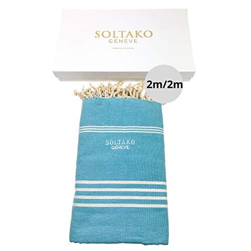 SOLTAKO XXXL 2x2m Fouta Strandtuch Handtuch Saunatuch Badetuch Hamamtuch Yoga Decke Pestemal in Aqua Farbe in eleganter Geschenkbox, extra groß, 200 x 200 cm