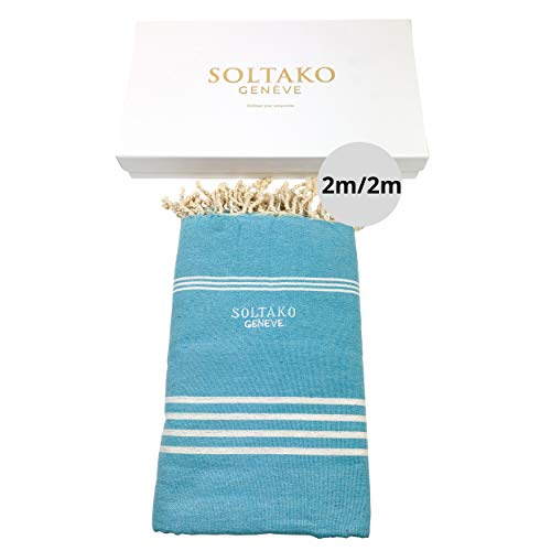 SOLTAKO Toalla de playa XXXL 2 x 2 m, toalla de sauna, toalla de baño, toalla de hamam, manta de yoga, pestemal, en caja de regalo, extragrande, 200 x 200 cm