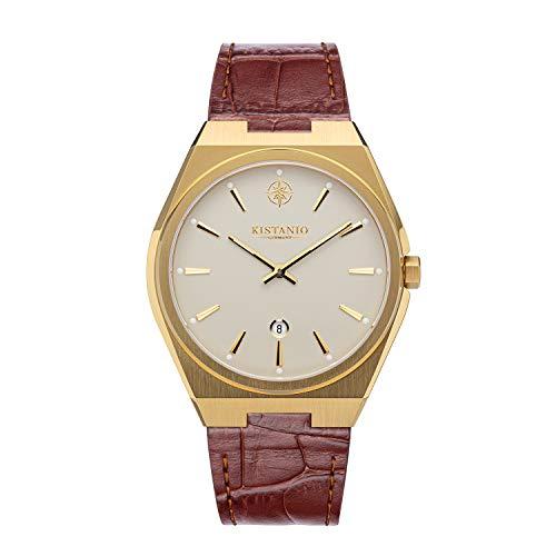 Kistanio Reloj de hombre Milano con correa de piel auténtica, 10 ATM, cristal de zafiro, chapado en oro, crema y marrón, GO-CR-L-BR