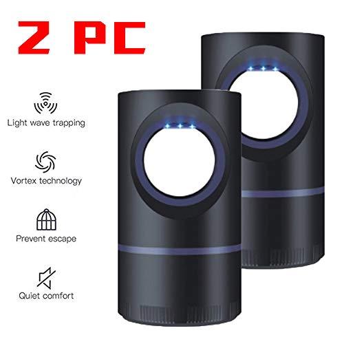 導かれたカのキラーランプ2 PC、 UVナイトライトUSB昆虫キラーバグザッパーモスキートトラップランタン忌避ランプ,Black-2PC