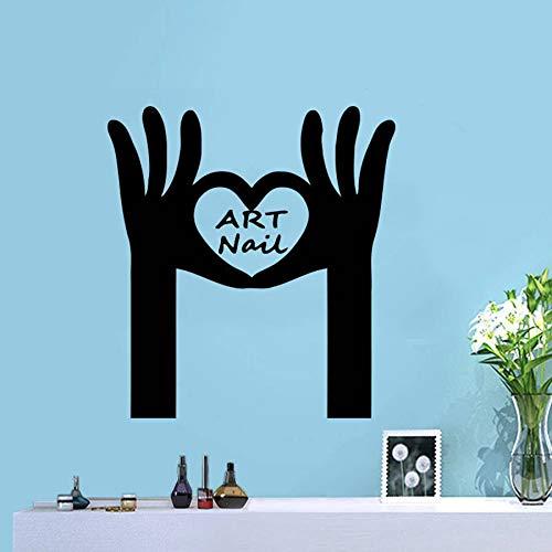 Arte salón de uñas pegatinas de pared decoración de interiores salón de belleza amor estilista de uñas manicura vinilo pegatinas de pared mujer regalo mural