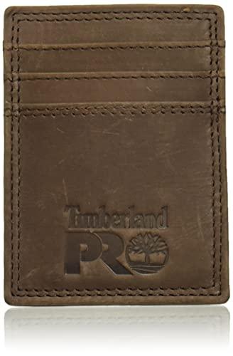 Timberland PRO Leather Front Pocket Wallet with Money Clip Accesorio, marrón Oscuro, Talla única para Hombre