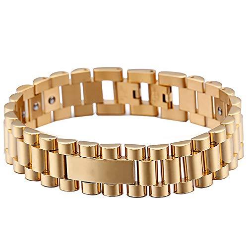 Gepersonaliseerde Heren Lederen Armband Heren titanium stalen armband Plating Rose gouden paar Fashion roestvrij stalen armband Gift Heren gepersonaliseerde armband (Color : Gold, Size : 205x16mm)