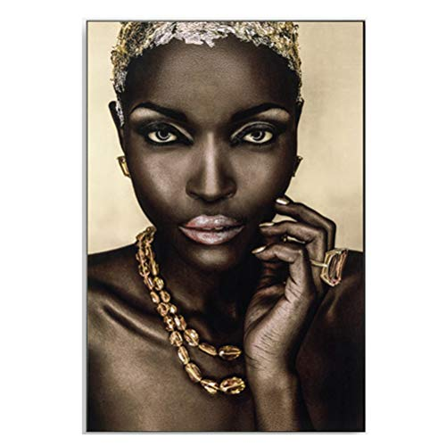 Muurkunst Afro-Amerikaanse Vrouwen Canvas Decor Originele Ontworpen Pop Goud Oorbellen Ketting Accessoire Zwart Mooie Meisje Stijl Schilderen op Canvas Poster Print, Zonder Frame 60×90cm A