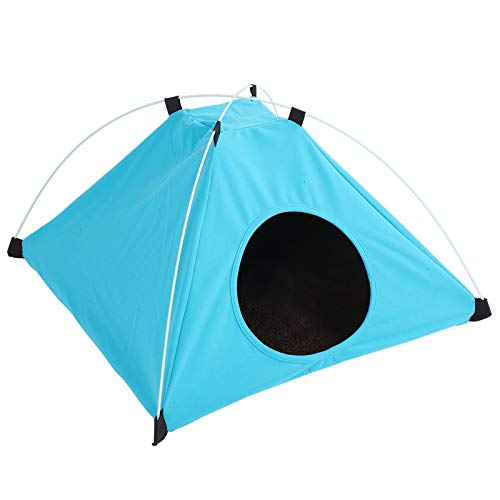 Portable Folding Cat Tent Outdoor Waterproof Cat House Bed Dog Shelter Kitty Tent with Plush Mat Keep Dogs Cats Safe & Warm(Blue)