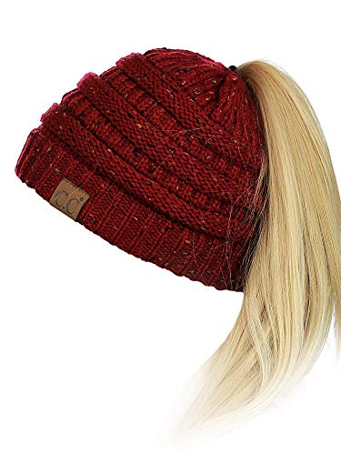 C.C BeanieTail Soft Stretch Cable Knit Messy High Bun Ponytail Beanie Hat, Confetti Burgundy