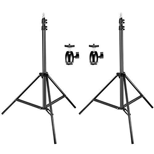 Neewer 2パック190cm調整可能なライトスタンド 2個1/4インチねじ三脚ミニボールヘッドホットシューアダプター付き スタンド撮影、ビデオ、ポートレート、製品写真用