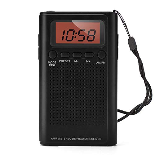 Horologe AM FM Pocket Radio, Portable Alarm Clock Radio with Time, Alarm, Radio, Digital Display,Stereo Mode and...