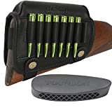 TOURBON Leather Cheek Riser Rifle Ammo Carrier with Buttstock Pad