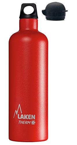 Laken Futura Thermo Borraccia, Bottiglia d'Acqua Isolamento Sottovuoto Acciaio Inossidabile, Bocca Stretta con Tappo Sportivo Extra, 750ML Rosso