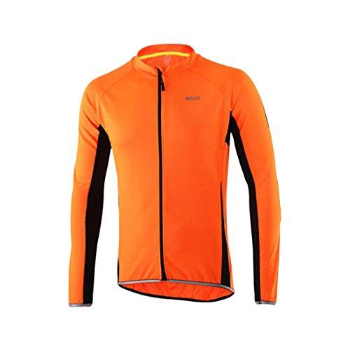 GWELL Herren Radtrikot Atmungsaktiv Fahrradbekleidung Trikot Langarm Orange L