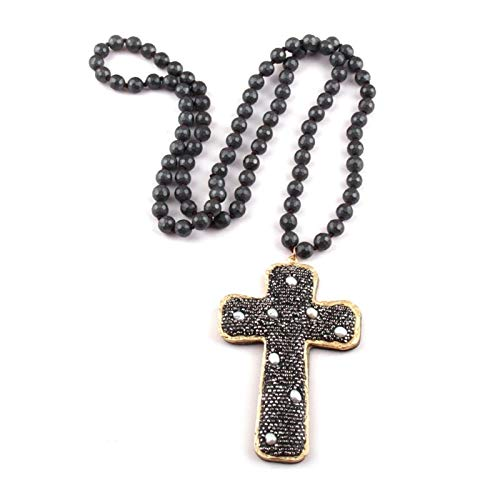 DERFX Fashion Bohemian Jewelry Faceted Hematite Stone Knotted Crystal Paved Pearl Decoration Cross Pendant Necklaces (Length : 86cm, Main Stone Color : Black)